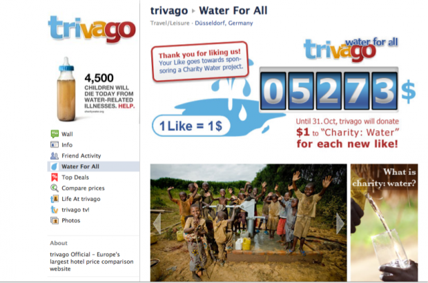 Trivago per Charity Water
