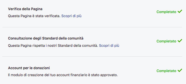 Facebook donation approvazione Onlus
