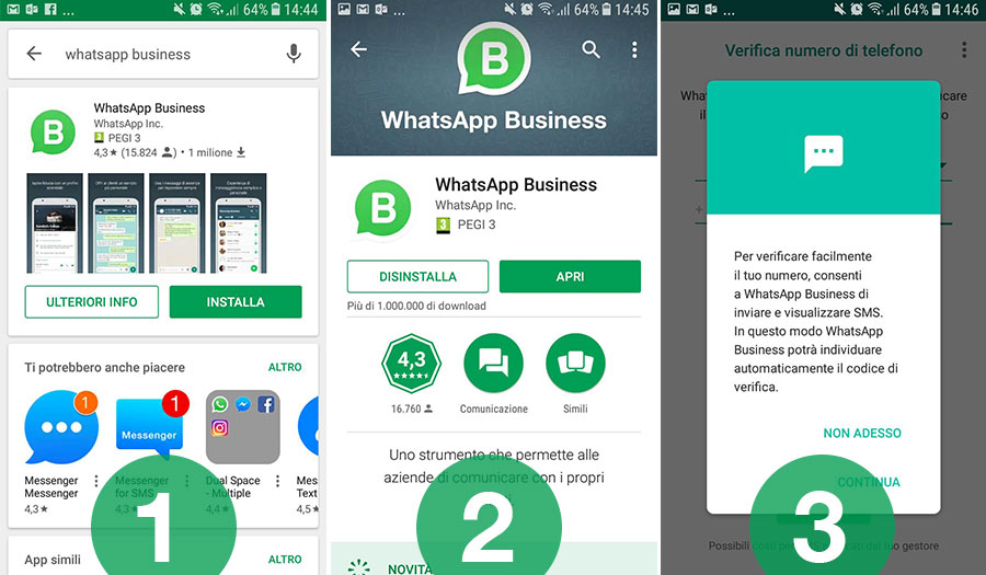 Procedura per installare WhatsApp Business per le Non profit